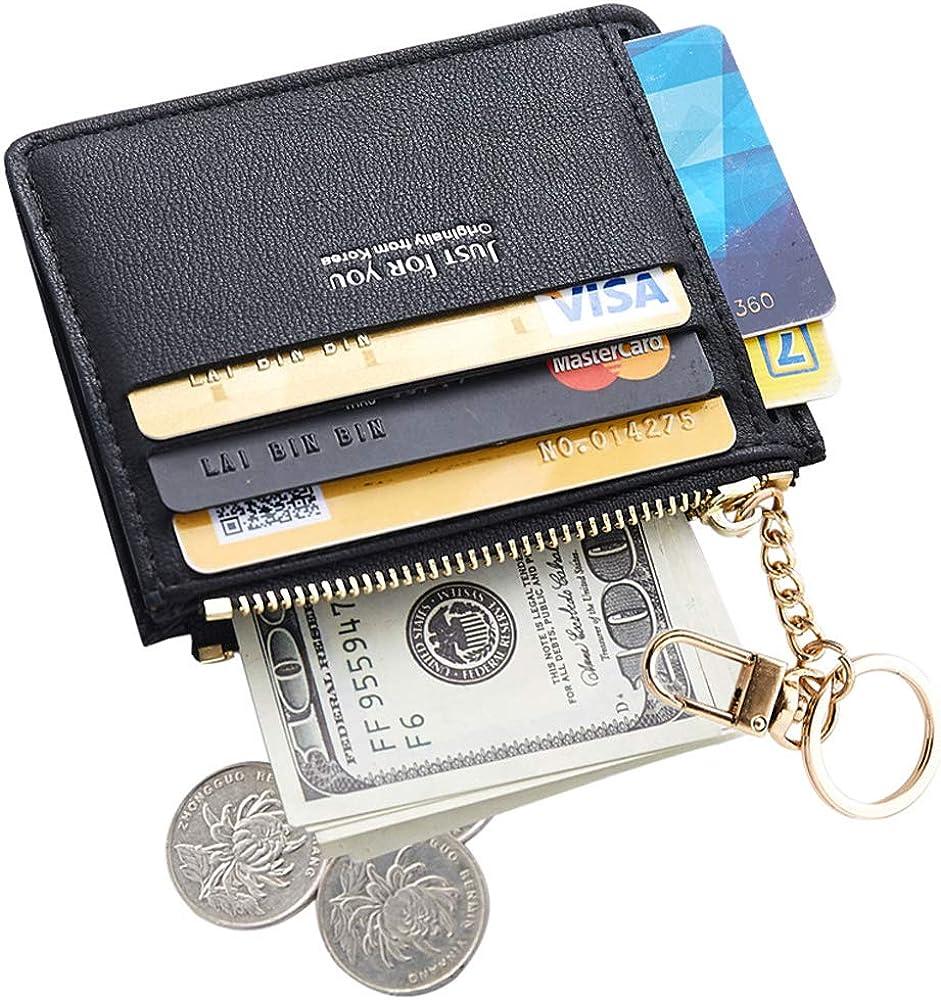 shyln Slim Card Case Front Pocket Wallet Change Purse with Keychain for Women Girls