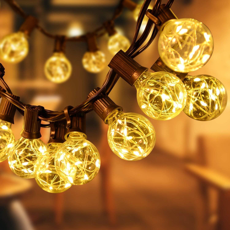 SUNNEST Backyard Lights, Warm White Globe String Lights Hanging Lights Indoor String Lights Outdoor Lights for Christmas Decor, Birthday and Bedroom Decorations