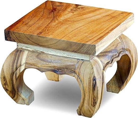 Kinaree - Mesa de opio de madera maciza de acacia (25 cm): Amazon ...
