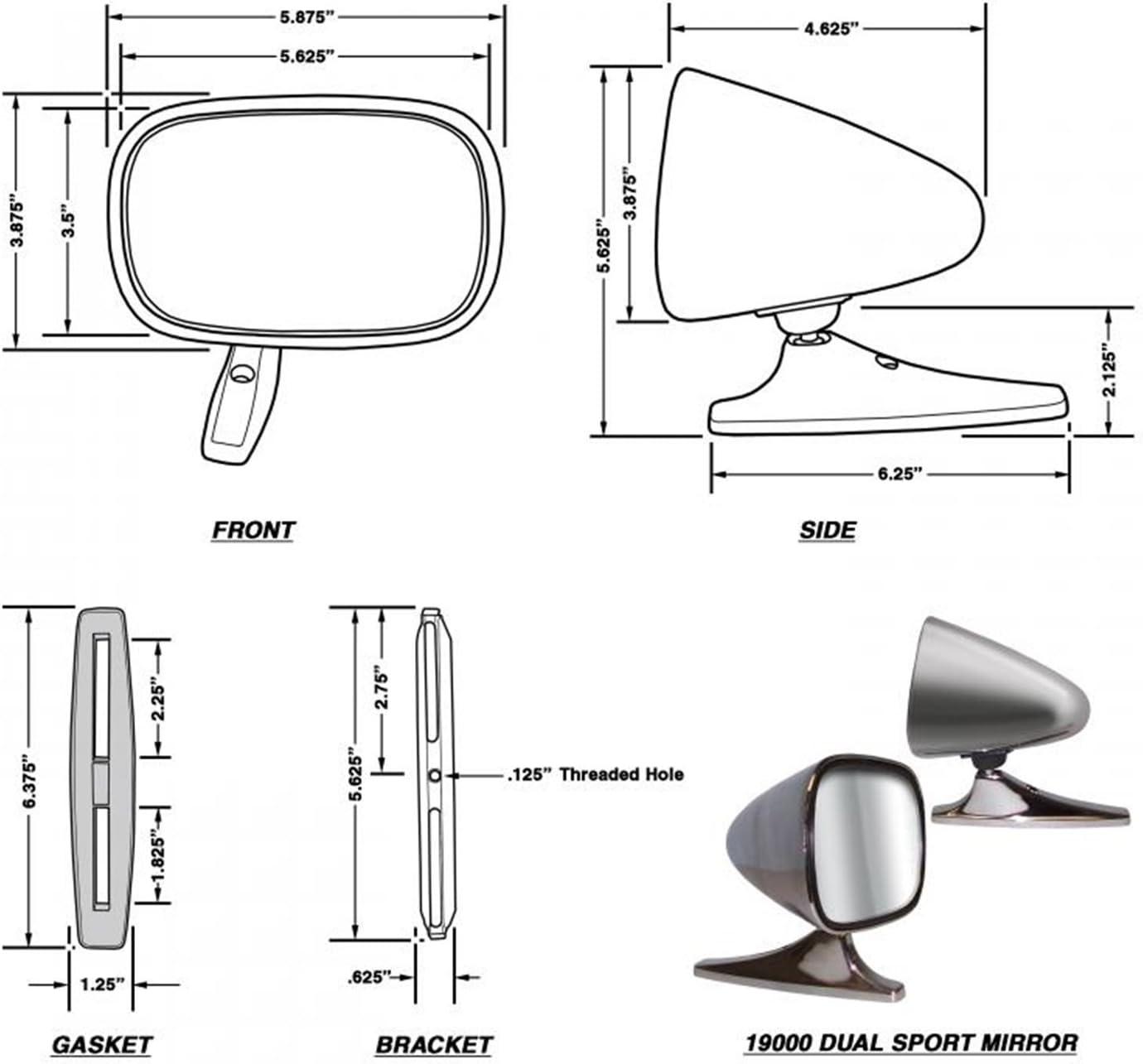 19000 CIPA Mirrors Car Door Mirror Dual Sport Chrome Pair Left Or Right