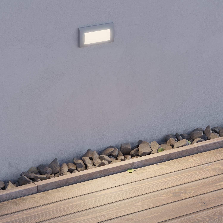 ledscom.de LED luminaire encastrable dans Le Mur Zibal pour l\'extérieur, Noir, Blanche-Froide, 140x70mm, 6 pcs Gris / 140x70mm / Couleur de Lumière: Blanche Chaude