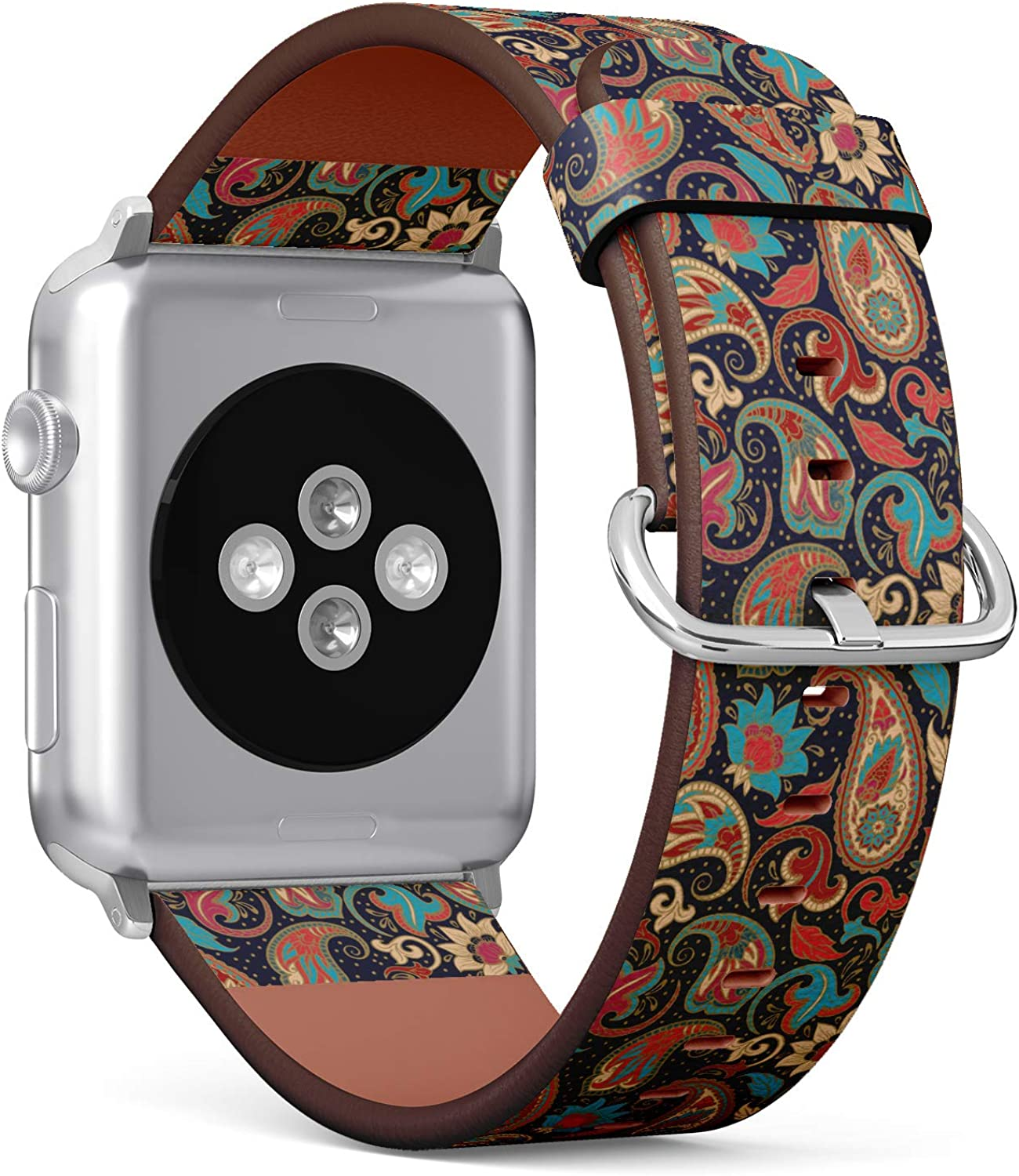 (Decorative Pattern of Ethnic Paisley) Patterned Leather Wristband Strap for Apple Watch Series 4/3/2/1 gen,Replacement for iWatch 42mm / 44mm Bands