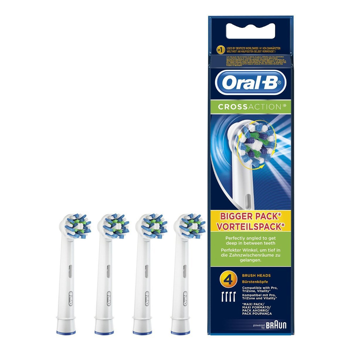 Oral-B CrossAction - Set de 4 recambios para cepillo de dientes eléctrico  recargable ( f5c5ca160970