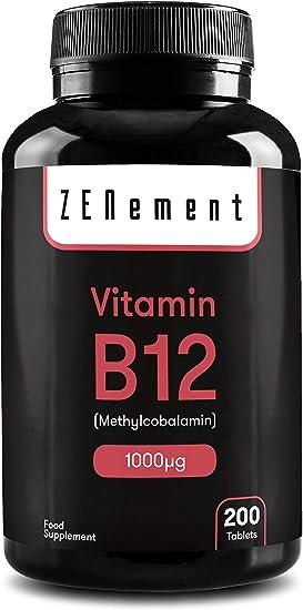 Vitamina B12 Metilcobalamina 1000 µg, 200 Comprimidos | Ayuda al sistema nervioso, inmunitario, energético y de los glóbulos rojos | Vegano, sin aditivos, sin gluten, No-GMO, GMP | de Zenement: Amazon.es: Salud