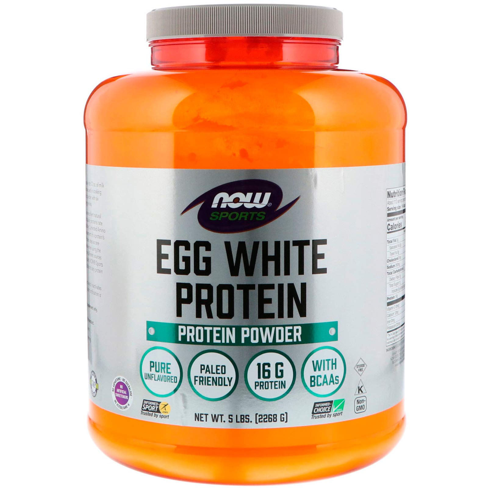 Now Sports Nutrition, Egg White Protein Powder, Unflavored, 5-Pound by NOW Foods