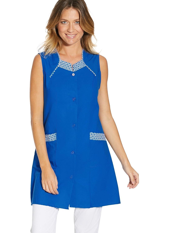 Tablier 3//4 Femme sans Manches Couleur : Uni Bleu Taille : 40 CHARMANCE