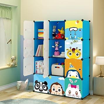 KOUSI Kidsu0027 Toy Storage Organizer Bookcase, 12 Storage Cube Blue