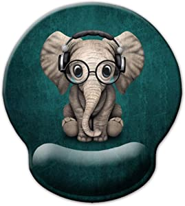 Ergonomic Mouse Pad with Wrist Support,Dooke Cute Wrist Pad with Non-Slip Rubber Base for Computer, Laptop, Home Office Gaming, Working, Easy Typing & Pain Relief Adorable Elephant