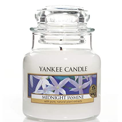 Yankee Candle Small Jar Scented Candle, Midnight Jasmine, Up to 30 Hours  Burn Time, Glass, White