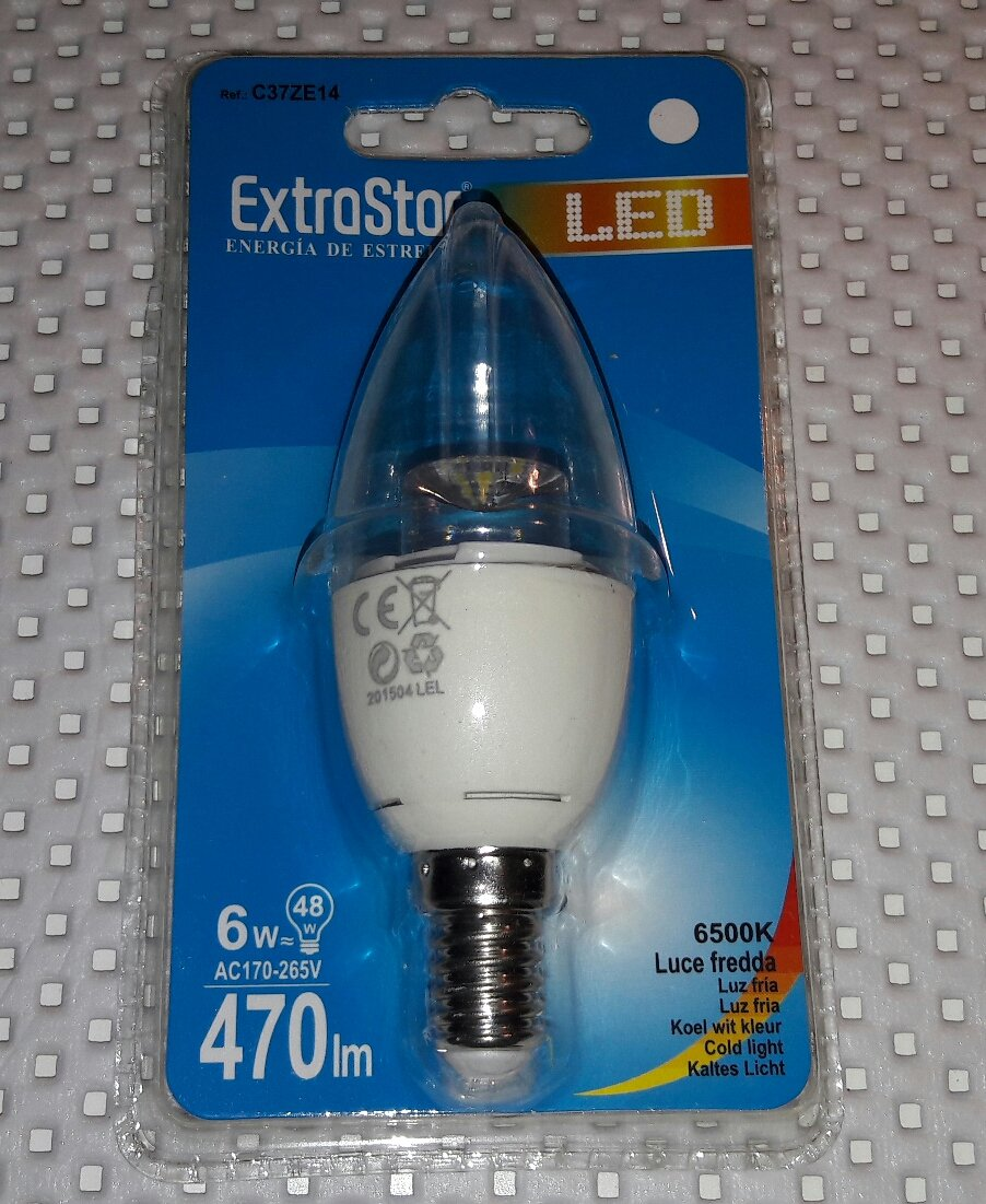 Bombilla LED extrastar de 6 W E14 6500 K A+ (blanca) x 6 unidades: Amazon.es: Iluminación