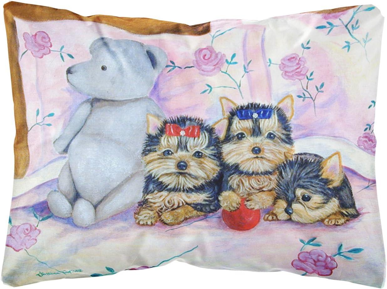 Caroline S Treasures 7192pw1216 Yorkie Puppies Three In A Row Decorative Canvas Fabric Pillow 12h X16w Multicolor Garden Outdoor