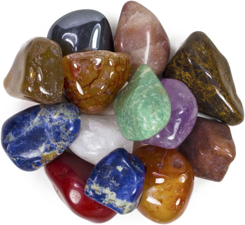 Hypnotic Gems 3 Pounds Brazilian Tumbled Polished Natural Stones Assorted Mix - Extra Large Size - 1.5