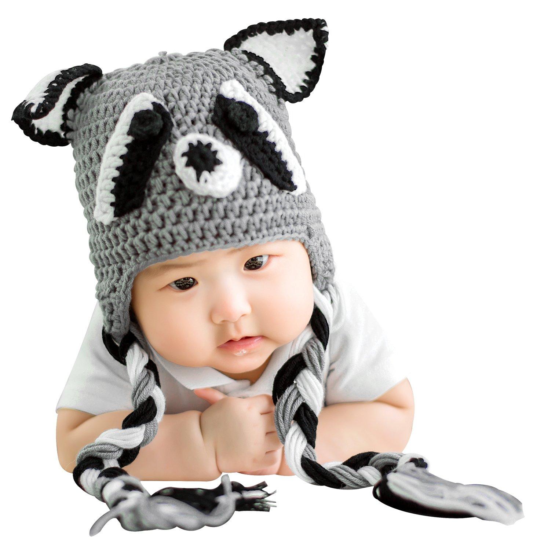 Bellady Baby Infant Cute Crochet Knit Cap Infant Toddler Earflap Hat Photo Prop Costume,Fox