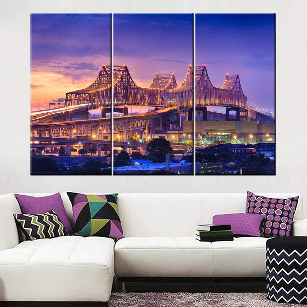 3 Piece Wall Art Painting New Orleans, Louisiana, USA at Crescent City Connection Bridge Prints On Canvas the Picture City Picture Oil for Home Modern Decoration Print Decor 40'' x 20'' x 3 panels