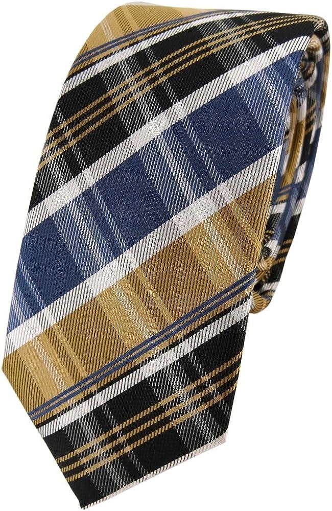 TigerTie - corbata estrecha - oro azul gris plata marrón oscuro ...