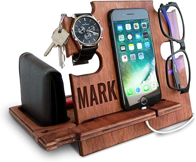 eco friendly stand? gift for him laser engraved photo movie characters Wood phone stand for desk gift for a friend
