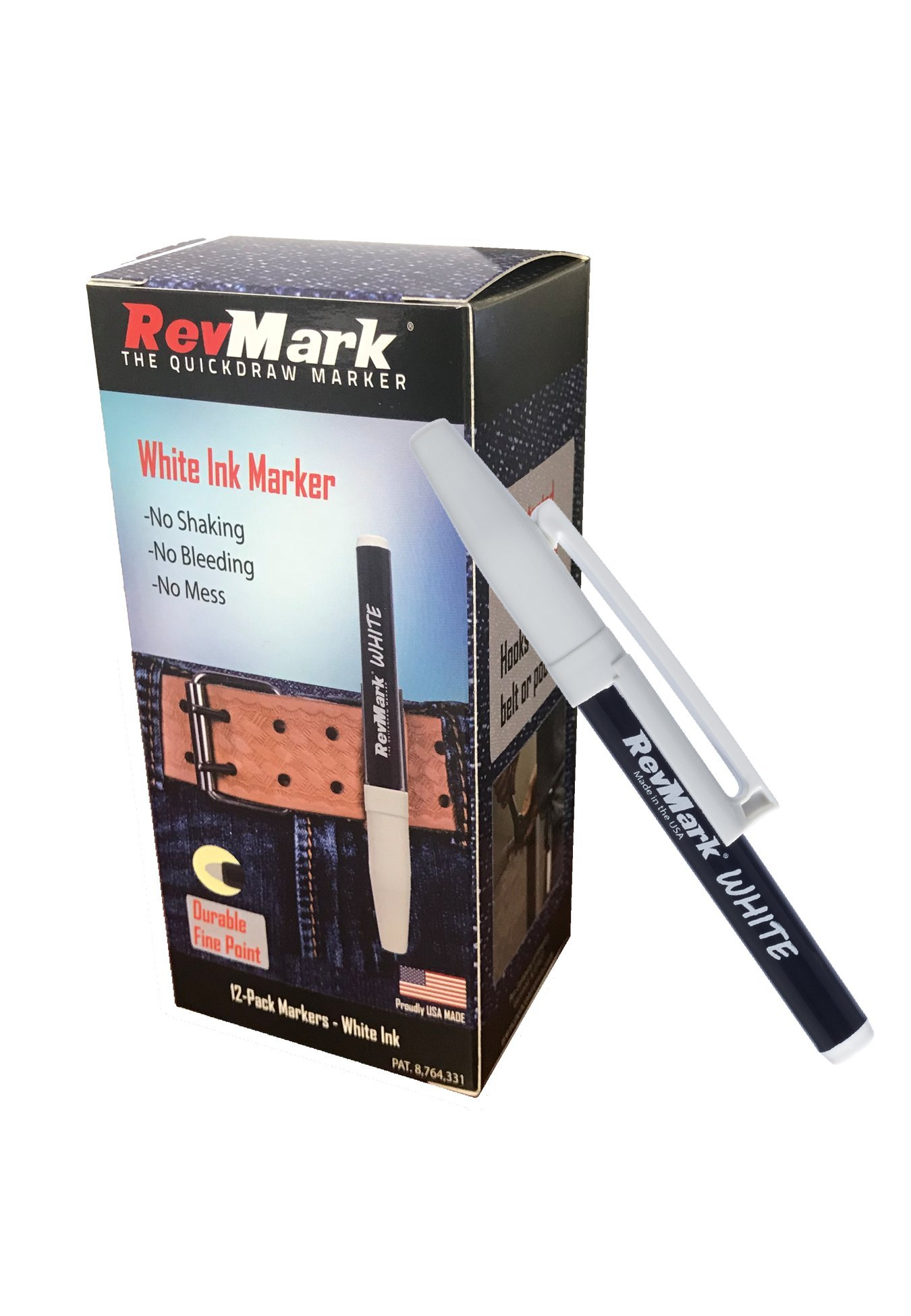 RevMark White Ink Industrial Marker - 12 Pack (Made in the USA)