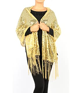 74bcb8123 Gold Filigree Design Sequin Shawl Scarf at Amazon Women's Clothing ...