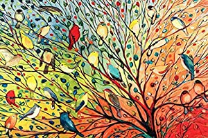 Buyartforless Tree Birds by Jennifer Lommers 36x24 Colorful Art Print Posters