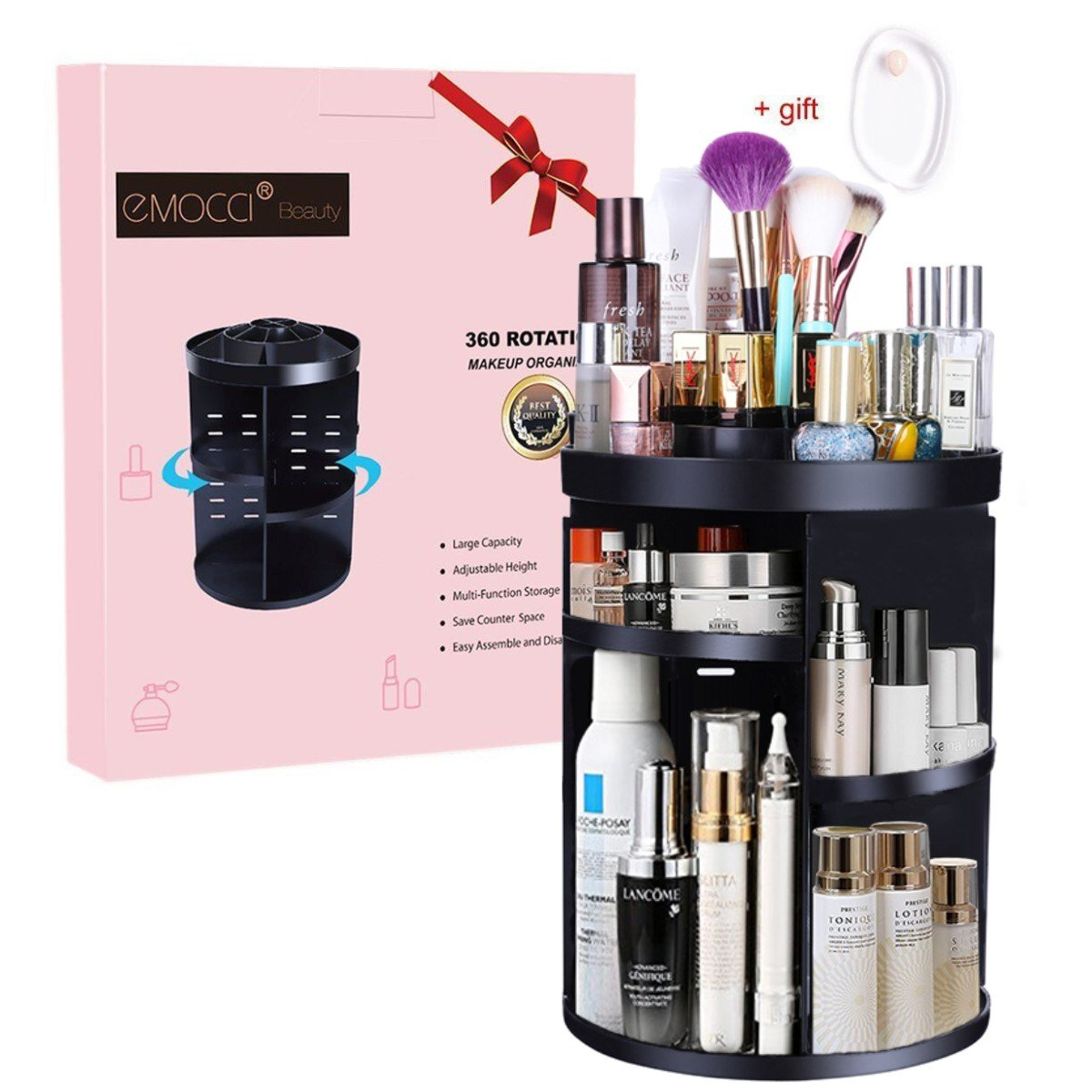 Makeup Organizers EMOCCI 360 Degree Rotating Adjustable Cosmetic Storage Box Case 7 Layers Large Capacity Make Up Holder Vanity Shelf Fits Bath Counter Bathroom Accessories(Black)