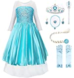 JerrisApparel Snow Party Dress Queen Costume Princess Cosplay Dress Up (4-5, Light Blue with Accessories)