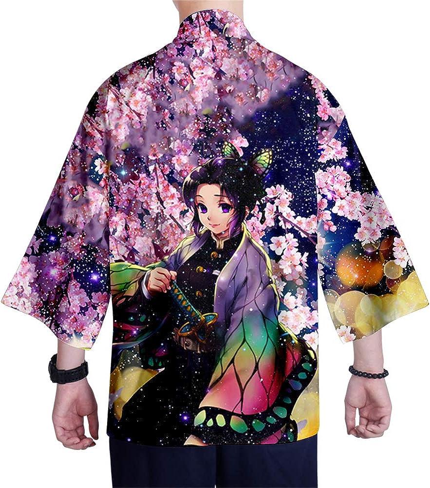 AMOMA Transpirable Chaqueta de Punto para Hombre dise/ño de Anime Kimetsu no Yaiba