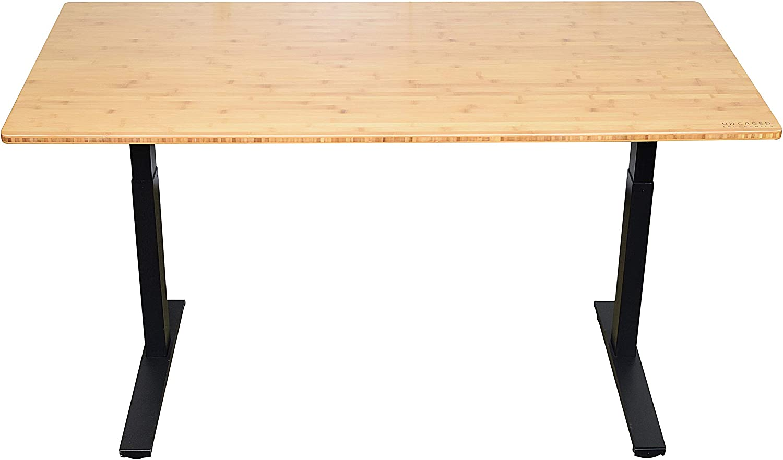 "Rise UP Dual Motor Electric Standing Desk 60x30 Bamboo Desktop Adjustable Height Motorized sit Stand up Office Computer Desk Memory (Frame Height 27.2-45.3"" | Black, Desktop 60x30 Natural Bamboo)"