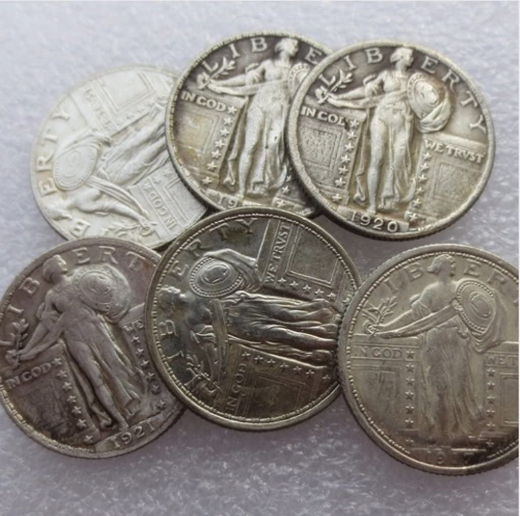 Rare Antique USA United States 1916-1924 Standing Liberty Quarter Dollar (6Pcs) Silver Color Coins