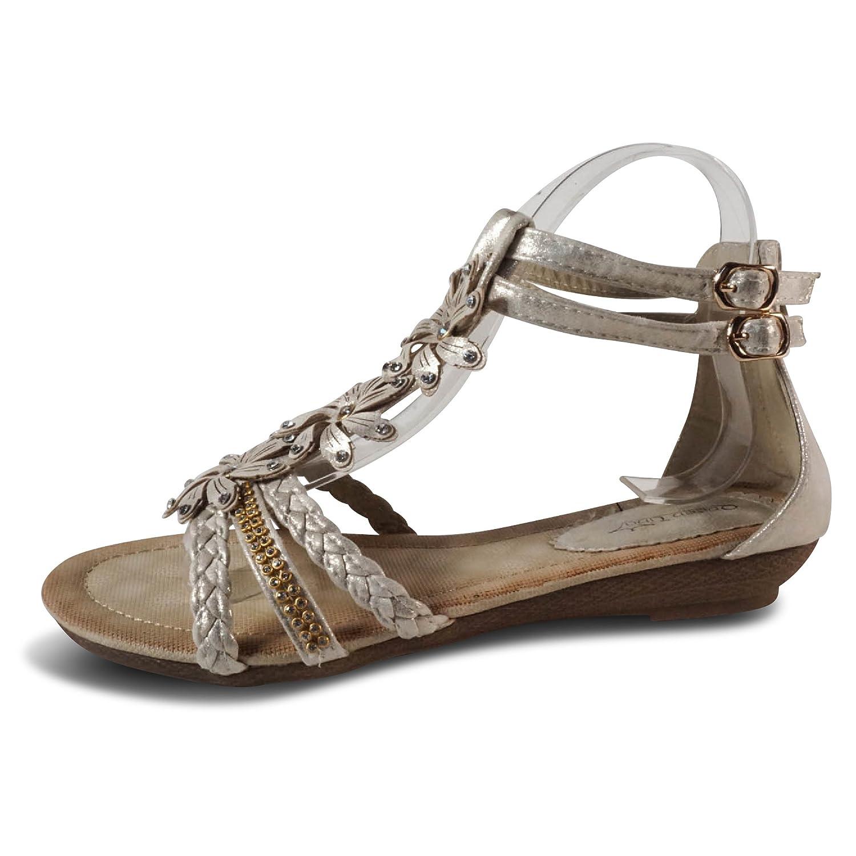 Damen Sandalen Sandaletten ST98 Keilabsatz Blumen Glitzer Zehentrenner  40 EU|Gold