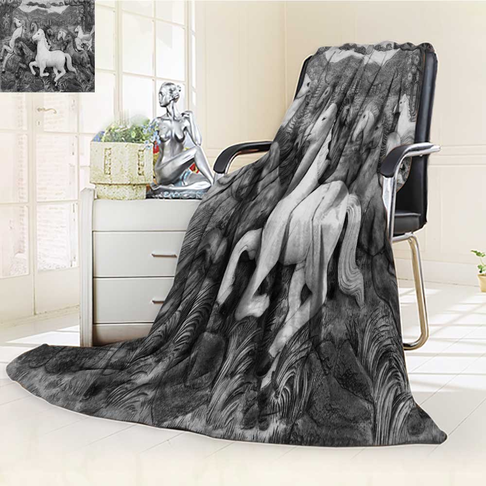 300 GSM Fleece Blanket low relief cement thai style handcraft of horse on wall Super Soft Warm Fuzzy Lightweight Bed or Couch Blanket(60''x 50'')