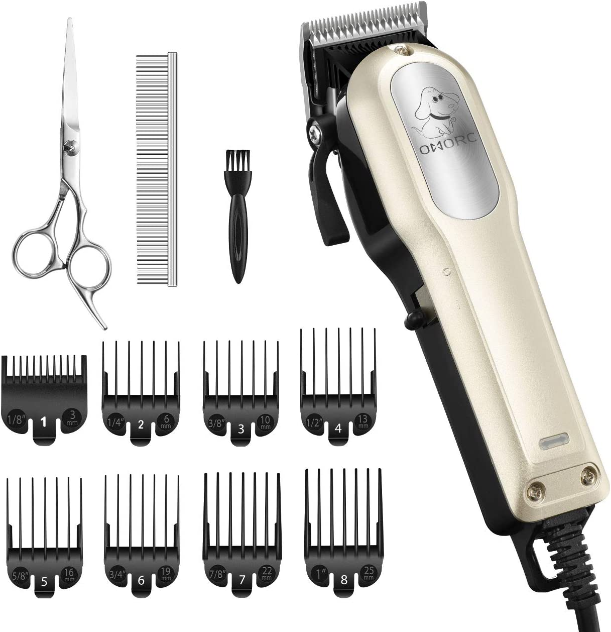OMORC Dog Clippers with 12V High Power for Thick Coats, Professional Heavy Duty Dog Grooming Kit, Plug-in & Quiet Pet Clippers with 8 Comb Guides, 1 Scissor, 1 Comb, 1 Cleaning Brush
