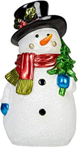 """E.SUN CRAFT Christmas Snowman Figurines Collectible Decorative Christmas Figurines Cozy Snowman Home Decor Lovely Holiday Design Perfect Holiday Decoration Greeting Season Gift Idea Black Hat 9.6"""" H"""