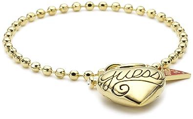 0f82a5178eaa Guess - UBB80925 - Puffy Script Heart - Bracelet Femme - Métal doré - 18 cm