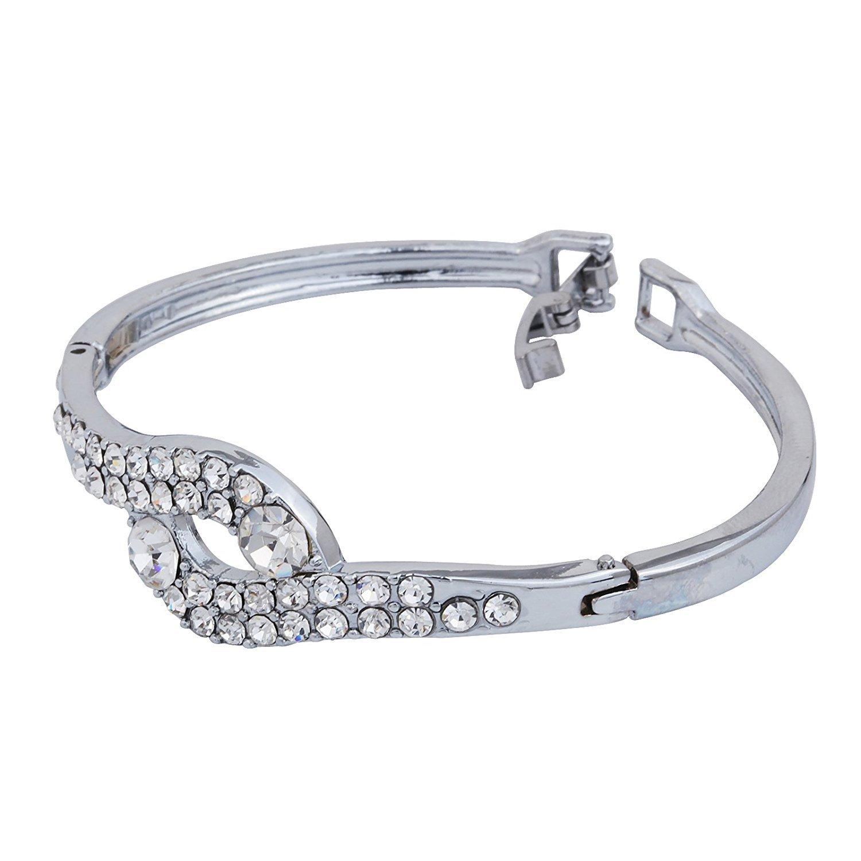 DVANIS Bracelet Shaped Heart Metal Braclet Plated Silver with Full Crystal Diameter:2.2In