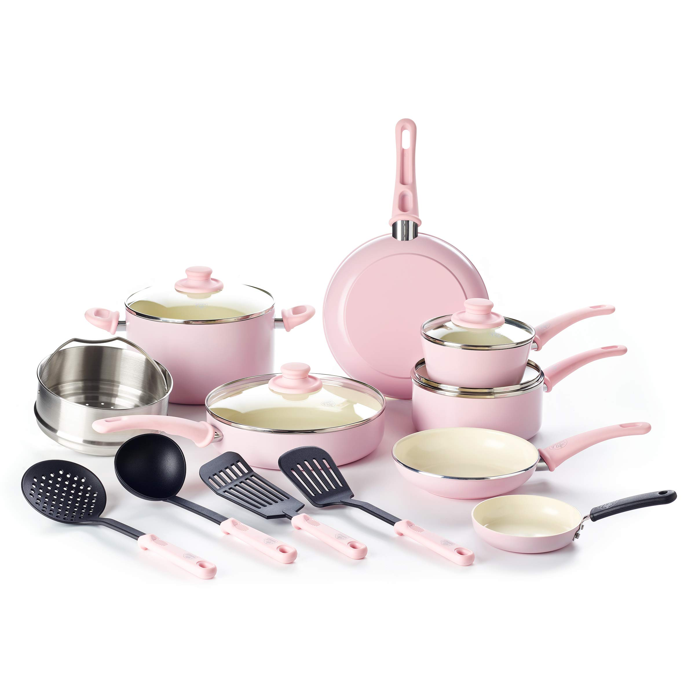 GreenLife CC002377-001 Soft Grip Set, 16-Piece, Pink by GreenLife