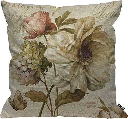 HGOD DESIGNS Cushion Cover Vintage Flower Print,Throw Pillow