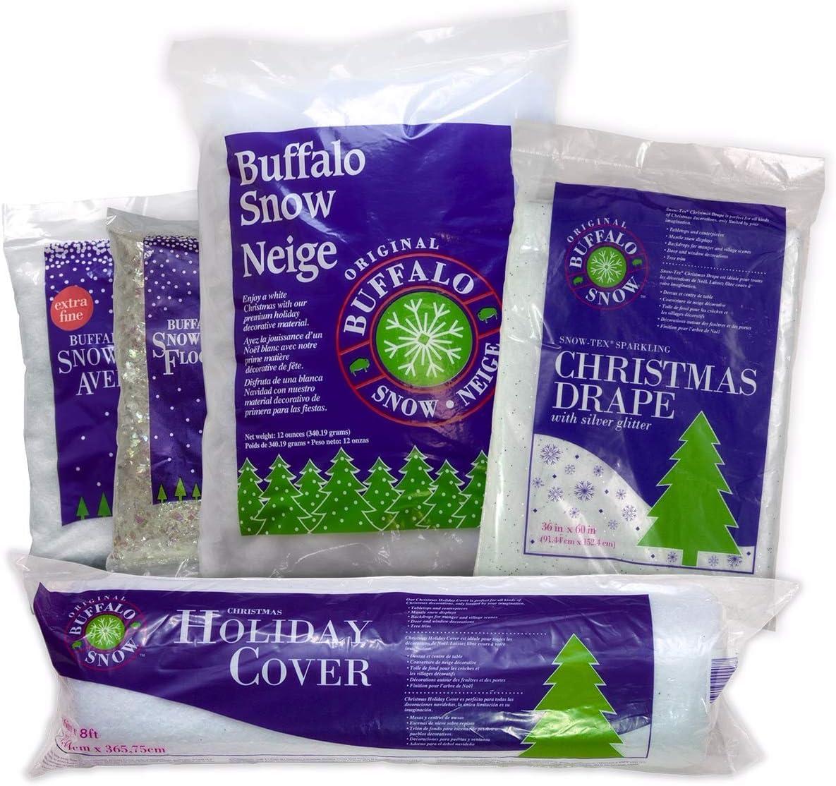 Buffalo Snow Village Snow Kit Including Holiday Cover, Snow-tex Sparkling Christmas Drape, Extra Fine Snow Flurries, Snowflakes