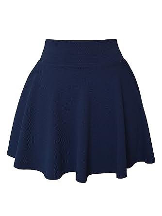 SYEEGCS Falda Mini Corta para Mujer Elástica Plisada Básica Estilo ...
