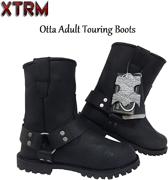 Xtrm Otto Motorbike Cruiser Short Boots Men Women Motorcycle Rider Biker Urban Oil Water Resistant Classic Design Leather Touring Boots Black