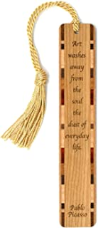 product image for Pablo Picasso Quote, Engraved Wooden Bookmark with Tassel