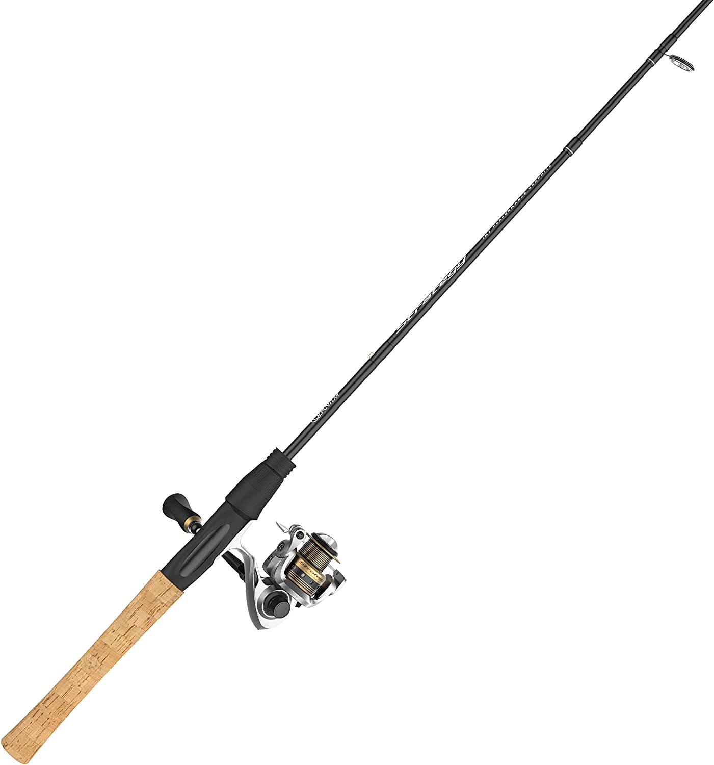 Quantum Strategy Spinning Reel and 2-Piece Fishing Rod Combo, IM7 Graphite Rod with Cork Handle, Continuous Anti-Reverse Clutch Fishing Reel