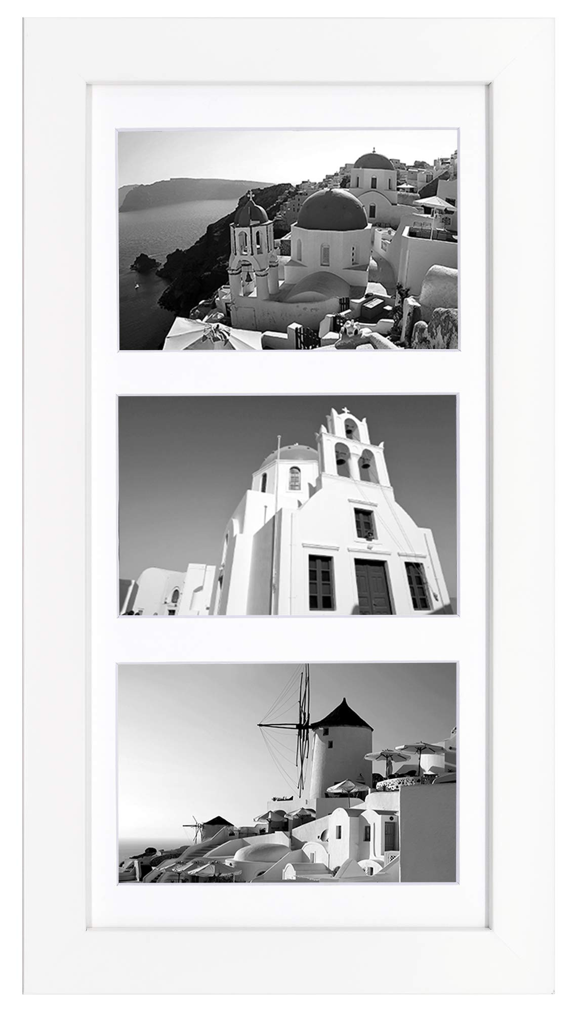 Golden State Art, 7x14 White Photo Wood Collage Frame with Mat displays (3) 4''x6'' Pictures (Wood - White with White Mat) by Golden State Art