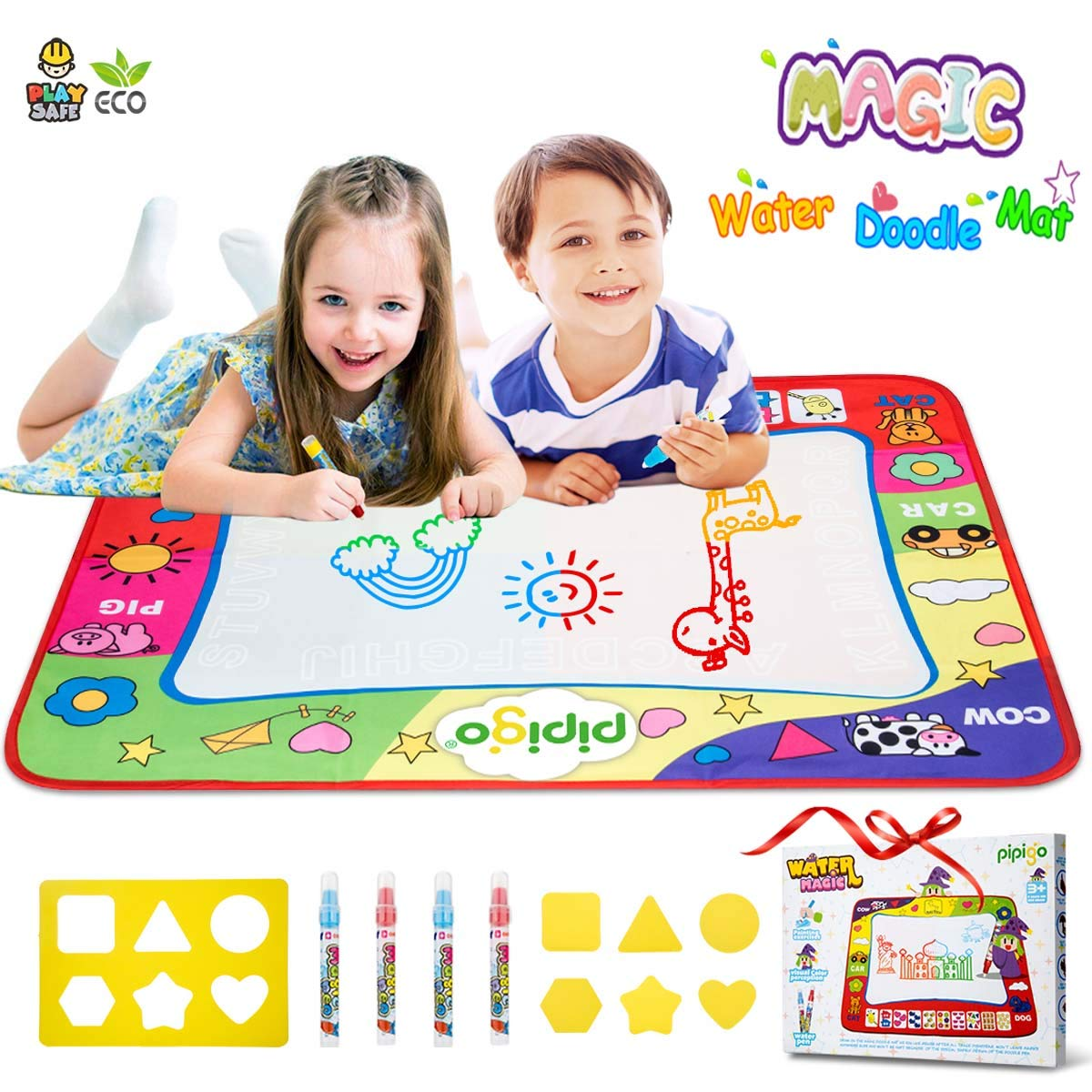 Hommate Water Doodle Mat Color Drawing Mat Doodle with Water Only 32x24in 4 Pens 6 Molds Toddler Gifts Toys for 2 3 4 Year Old Girls Boys Gift Age 2 3 with Color Box (PPG mat-08)