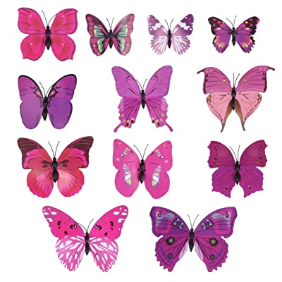 SUPVOX 3 Packs Butterfly Wall Decals 3D Butterfly Wall Sticker Art Removable Mural for Kids Room Bedroom Living Room Nursery Decoration: Baby