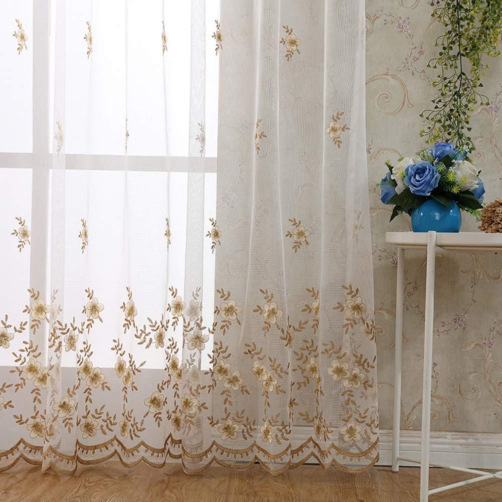 YOVATO 2 Panneaux Jardin Fleurs mod/èle oeillet fen/être Voilage Net Rideaux Salon Oeillets W46 xL54 W117xL137cm