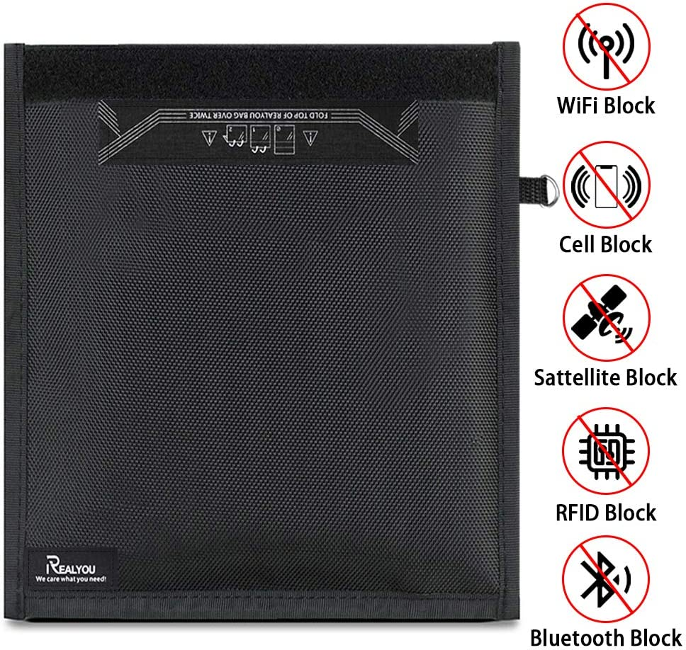 Faraday Bag,Signal Isolation Bag,Shield Your Phone//ipad from Hacking,Tracking,and EMP Protection Radiation with This Pouch Shields NFC//WiFi//Bluetooth for Phones,Key Fobs and Credit Card 13.8X17.7