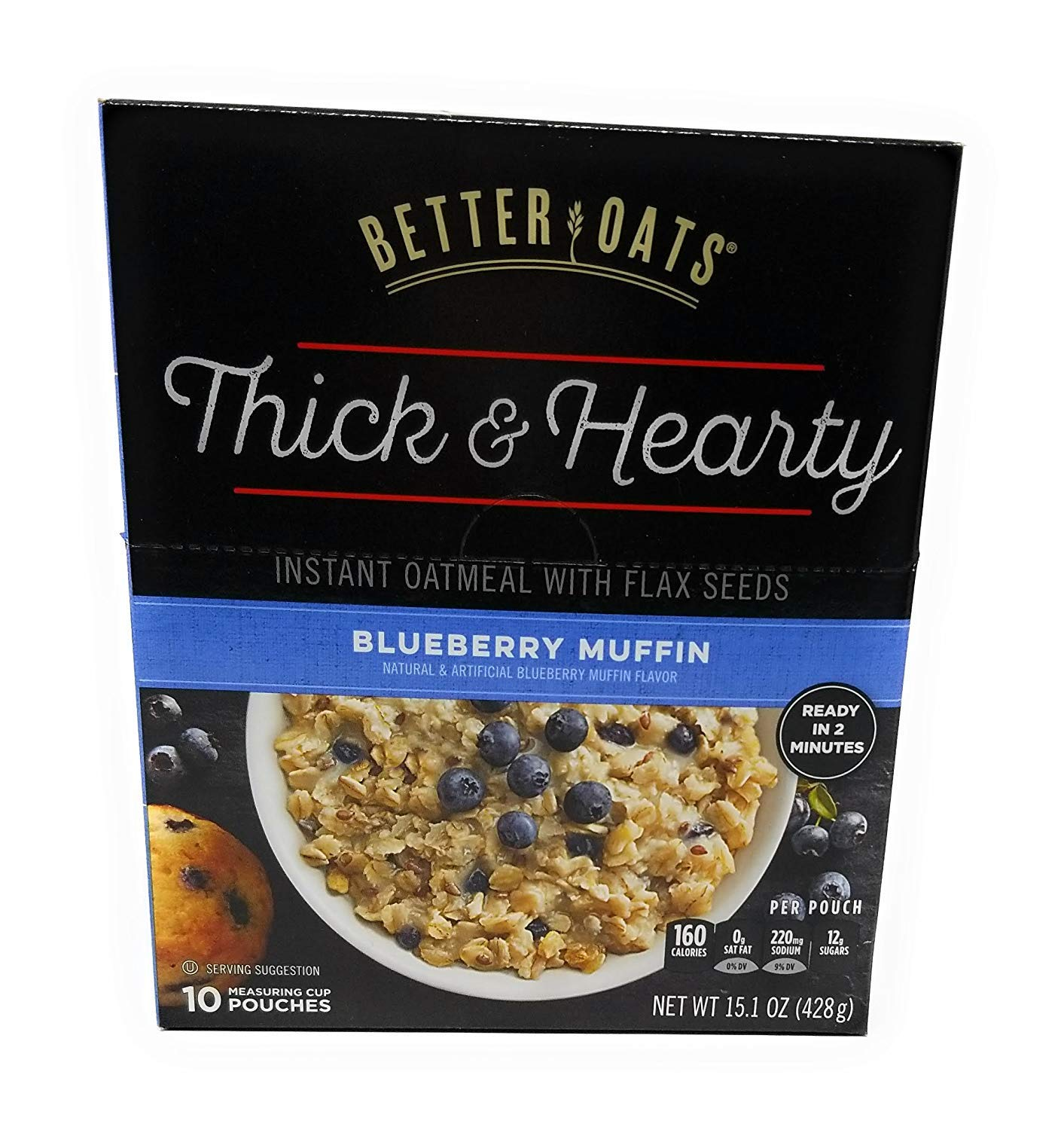 Better Oats mmmMuffins Old Fashion Instant Oatmeal, Blueberry Flavor, 10 Pouches per 15.1-oz. Box (2 Pack)