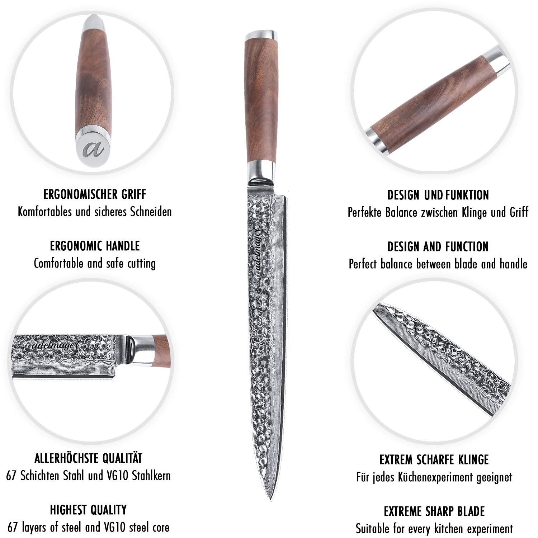 adelmayer® - Cuchillos fileteros damasco de 24,5cm con hoja de acero damasco japonés extremadamente afilado con mango de nogal y paño de gamuza