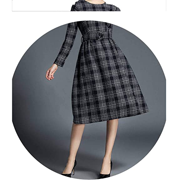 Ladies Office Woolen Plaid Dress Woman Dress Long Sleeve Render Noel Vestido De Invierno K5718 at Amazon Womens Clothing store: