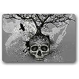 Custom Skull Tree Black Eagle Machine Washable Top Fabric Non-slip Rubber Indoor Outdoor Home Office Bathroom Doormat Size 23.6x15.7
